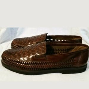 DEER STAGS BROWN LEATHER WOVEN HUARACHE LOAFER 9.5